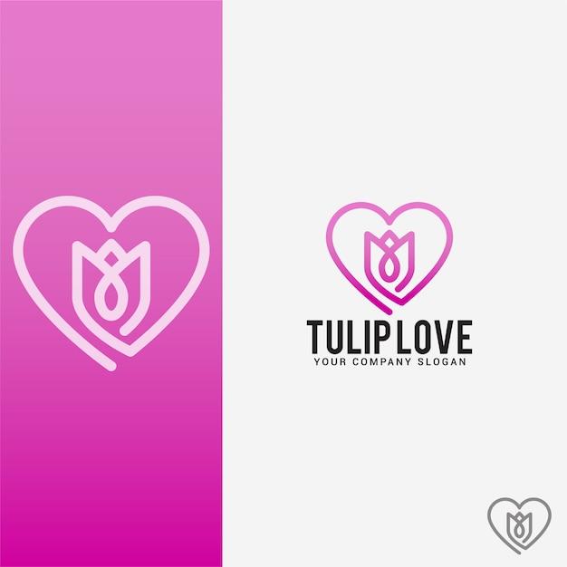 Tulp liefde logo Premium Vector