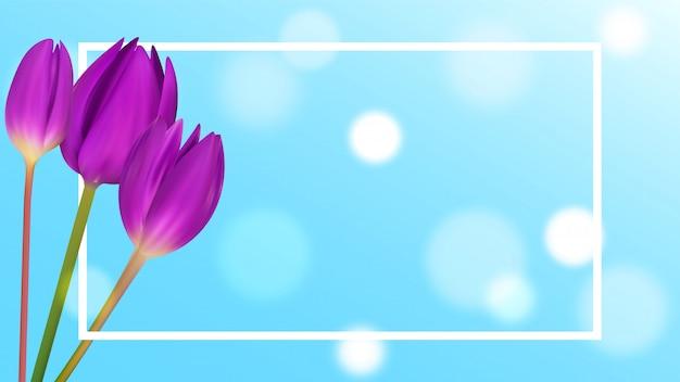 Tulpenboeket om banner te springen. Premium Vector