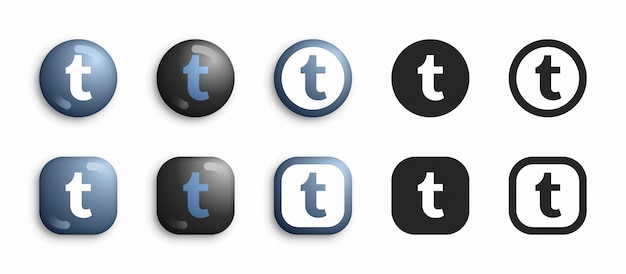 Tumblr moderne 3d en plat pictogrammen instellen Premium Vector