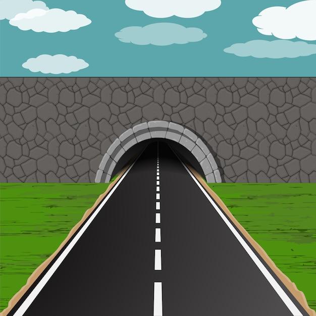 Tunnel met wegillustratie Premium Vector