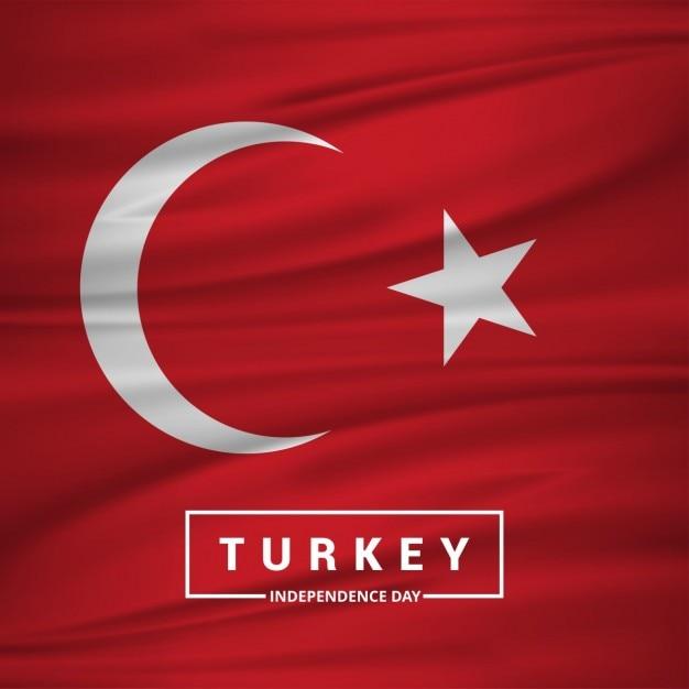 Turkije afzien vlag met typografie Gratis Vector