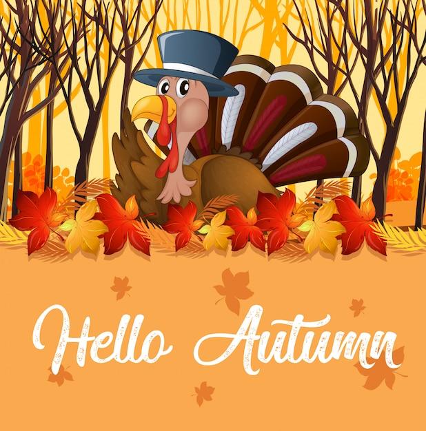 Turkije en oranje herfst sjabloon Gratis Vector