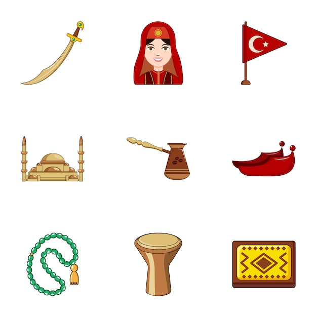 Turkije iconen set, cartoon stijl Premium Vector