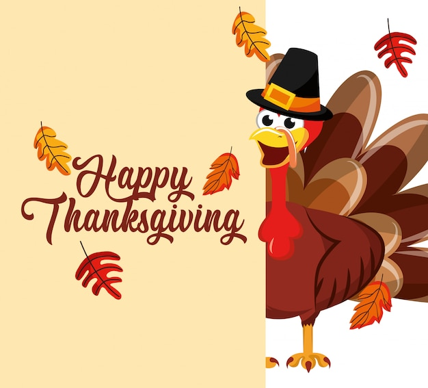 Turkije met herfstbladeren vallende thanksgiving-kaart Premium Vector