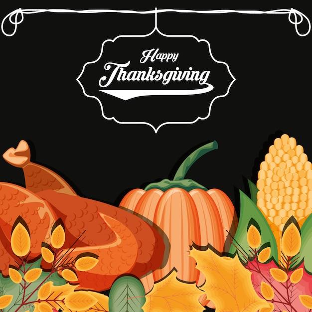 Turkije met pompoen en maïskolf van thanksgiving day Premium Vector