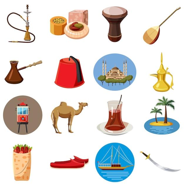 Turkije reizen pictogrammen instellen, cartoon stijl Premium Vector