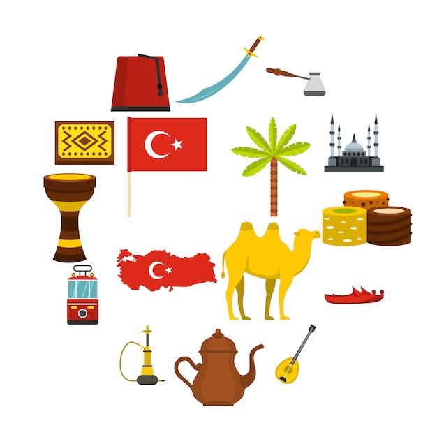 Turkije reizen pictogrammen instellen in vlakke stijl Premium Vector