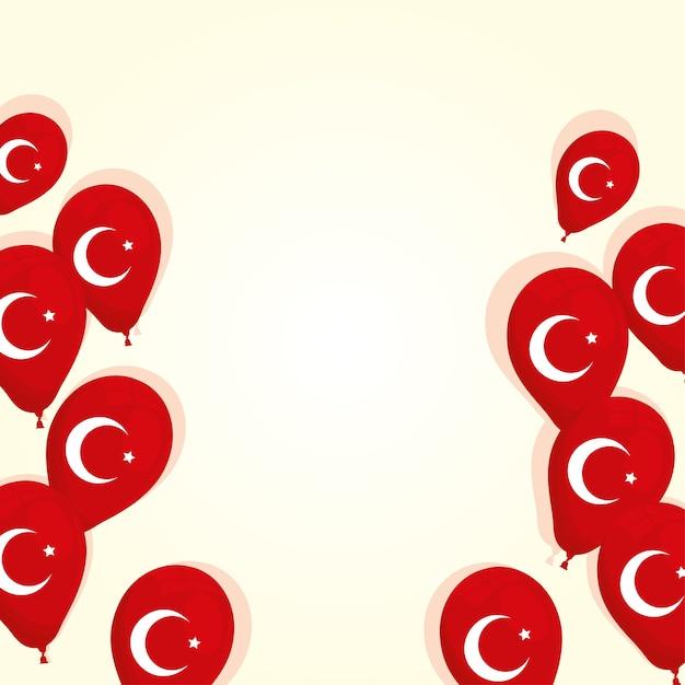 Turkije vlaggen land in vector de illustratieontwerp van het ballonshelium Premium Vector