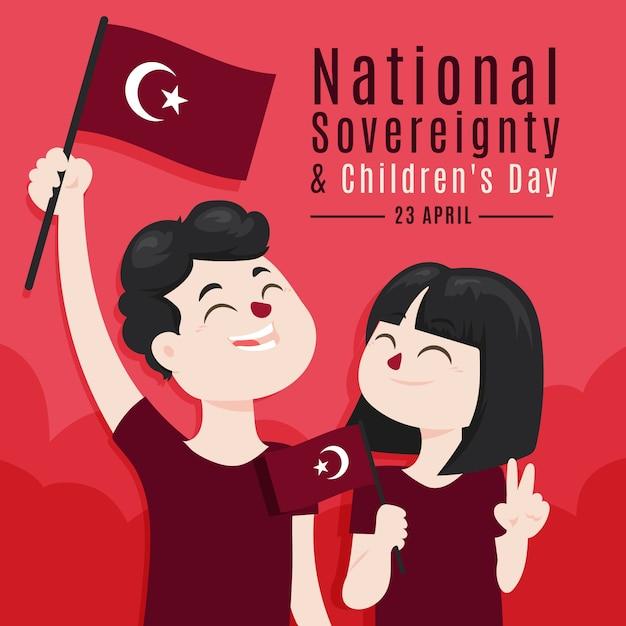 Turkse nationale soevereiniteit en kinderdag Gratis Vector
