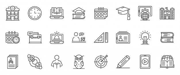 Tutor iconen set, kaderstijl Premium Vector