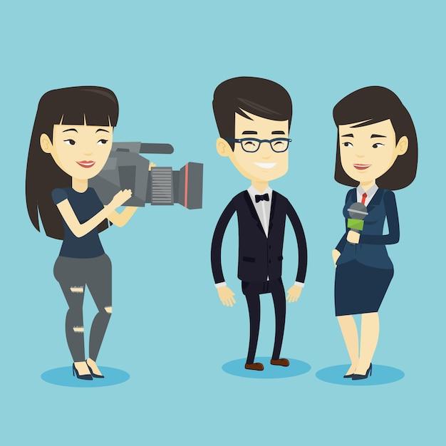 Tv-interview illustratie. Premium Vector
