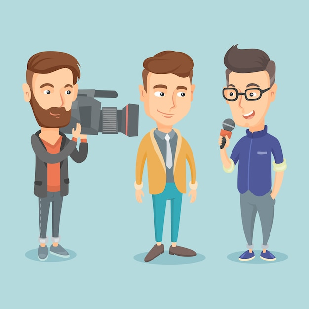 Tv interview vectorillustratie. Premium Vector