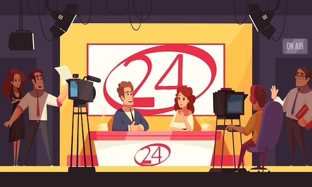 Tv live-evenementen breaking news politiek 24 uur per dag uitzenden van cartoon compositie met verslaggevers in de studio Gratis Vector