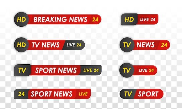 Tv-nieuwsbalk. sport nieuws. televisie-uitzendmedia. Premium Vector