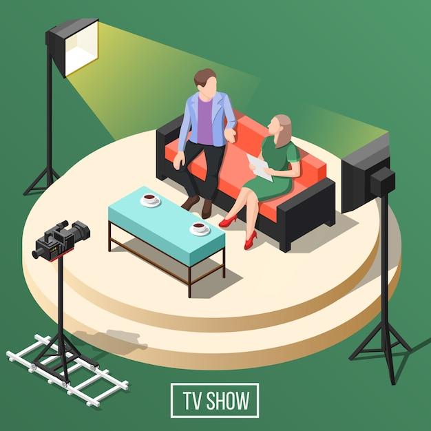 Tv-programma isometrisch Gratis Vector