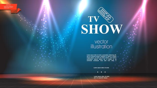 Tv-show heldere kleurrijke achtergrond Gratis Vector