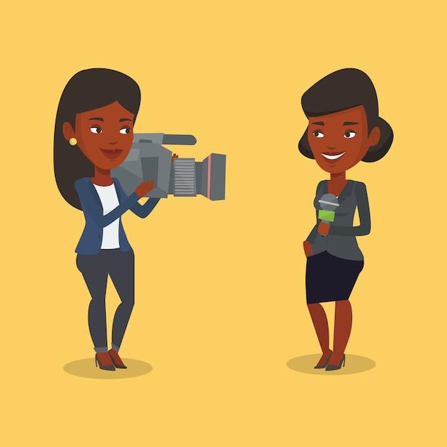 Tv-verslaggever en operator illustratie. Premium Vector