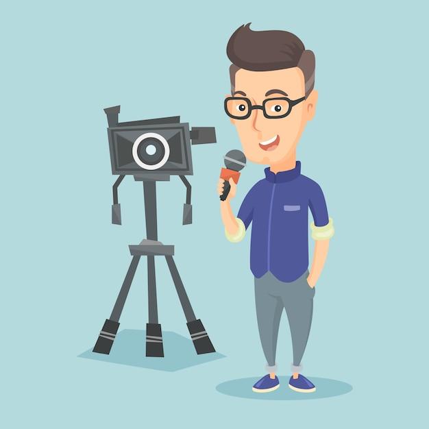 Tv-verslaggever met microfoon en camera. Premium Vector