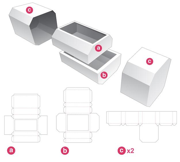 Twee afgeschuinde laden en afgeschuinde omslag gestanst sjabloon Premium Vector