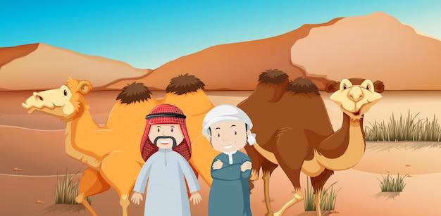 Twee arabische mannen en kamelen in woestijnland Premium Vector