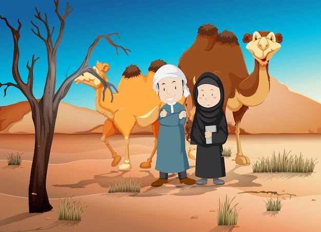 Twee arabische mensen en kamelen in de woestijn Gratis Vector