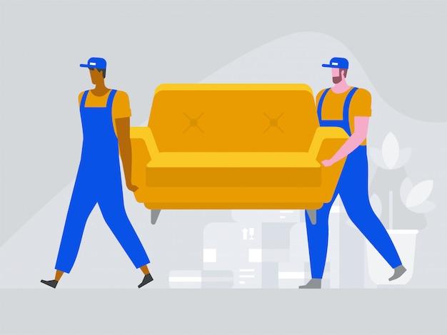 Twee arbeiders dragen een bank. Premium Vector