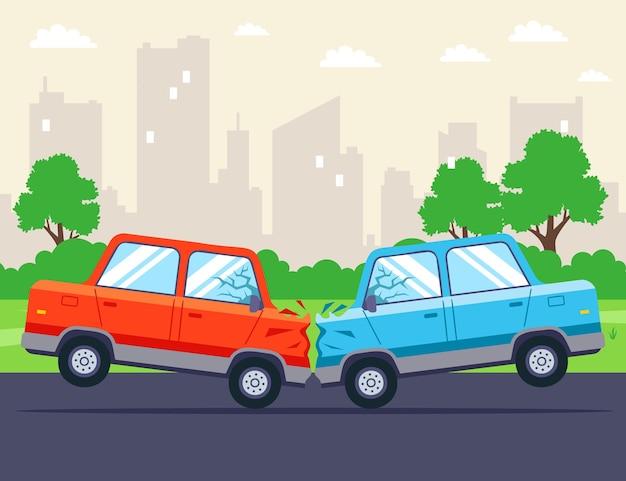 Twee auto's botsten frontaal op de snelweg. Premium Vector