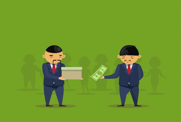 Twee aziatische zakenlieden zetten dollar in doosschenking charity Premium Vector