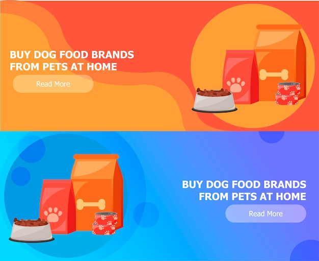 Twee banners voor dierenvoer Gratis Vector