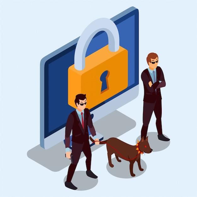 Twee beveiligingswachten en een hond staan voor het bewaken van een computer isometrische illustratie Premium Vector