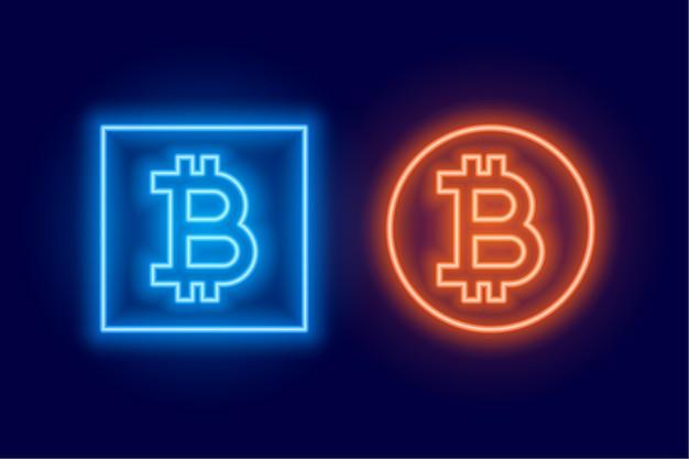 Twee bitcoin-logo-symbool gemaakt in neonstijl Gratis Vector