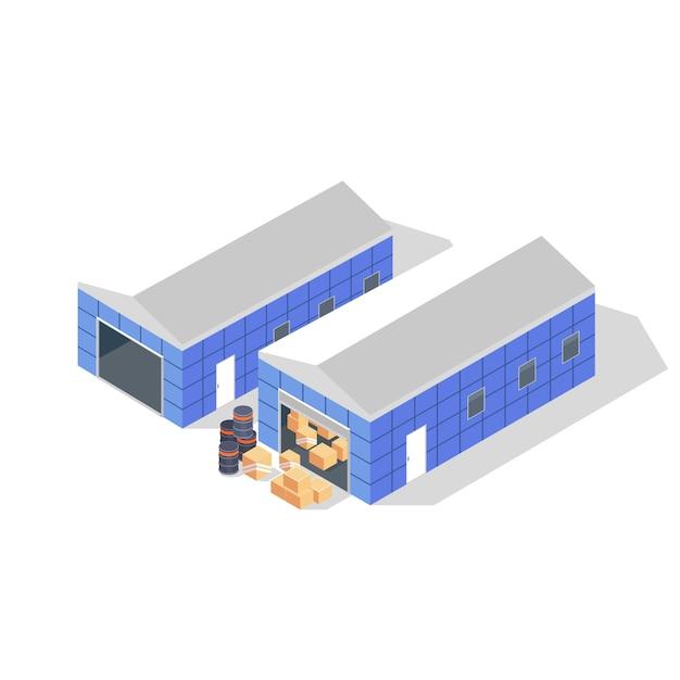 Twee blauwe gebouwen met grijze daken van pakhuis met zwarte vaten, kartonnen dozen of houten kratten. opslag, depot voor goederen, producten. isometrische illustratie op witte achtergrond. Premium Vector