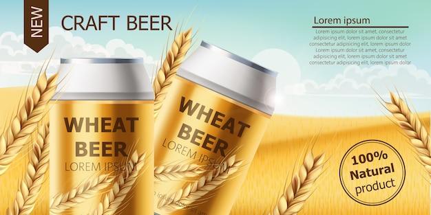 Twee blikjes met ambachtelijk bier in een veld vol tarwekorrels. blauwe bewolkte hemel. realistisch. plaats voor tekst Premium Vector