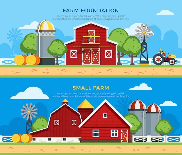 Twee boerderij platte horizontale banners Gratis Vector