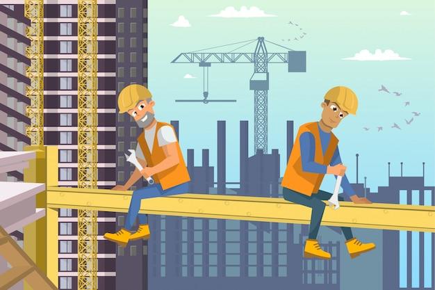 Twee bouwers zitten op balk boven woningbouw. Premium Vector