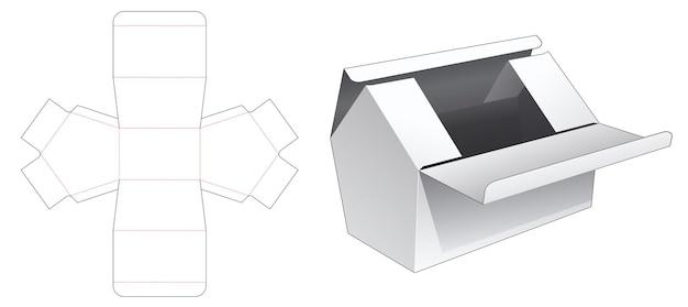 Twee bovenkant omdraait huisvormige doos gestanst sjabloon Premium Vector