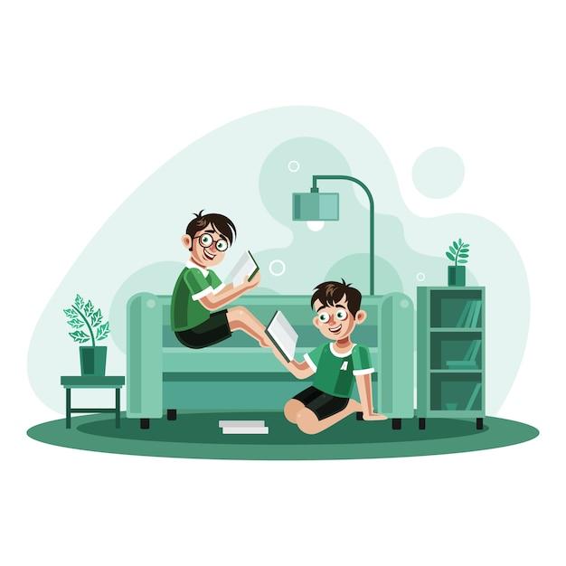 Twee broers die boeken thuis lezen Premium Vector