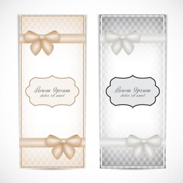 Twee bruiloften uitnodigingskaart in de vintage stijl voor wenskaarten, etiketten, uitnodigingen, posters, badges. Premium Vector