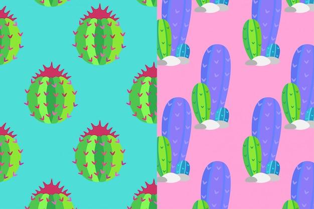 Twee cactus patroon Premium Vector