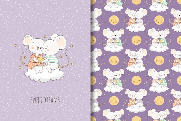 Twee cartoon muis op de wolk illustratie. kaart en naadloos patroon Premium Vector