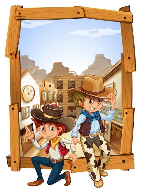 Twee cowboys op het platteland Gratis Vector