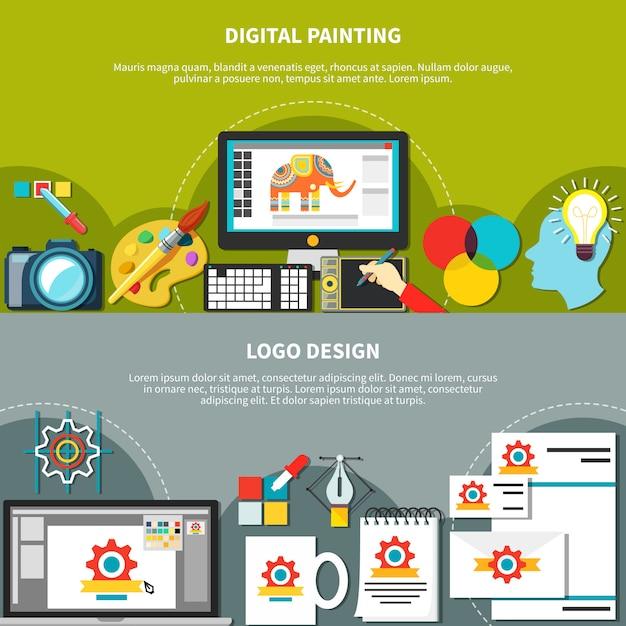 Twee designer tools compositie set Gratis Vector
