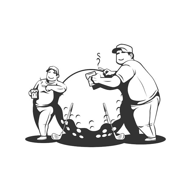 Twee dikke jongens golfen terwijl ze bier drinken en sigaretten roken Premium Vector