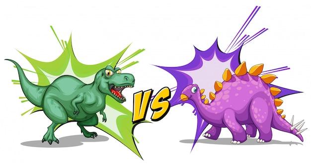 Twee dinosaurussen vechten tegen elkaar Gratis Vector