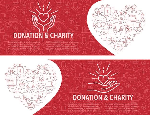 Twee donatie sjabloon voor spandoek. horizontale banner Premium Vector