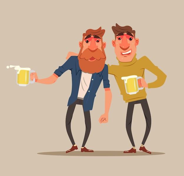 Twee dronken mannen-personages hebben plezier. platte cartoon afbeelding Premium Vector