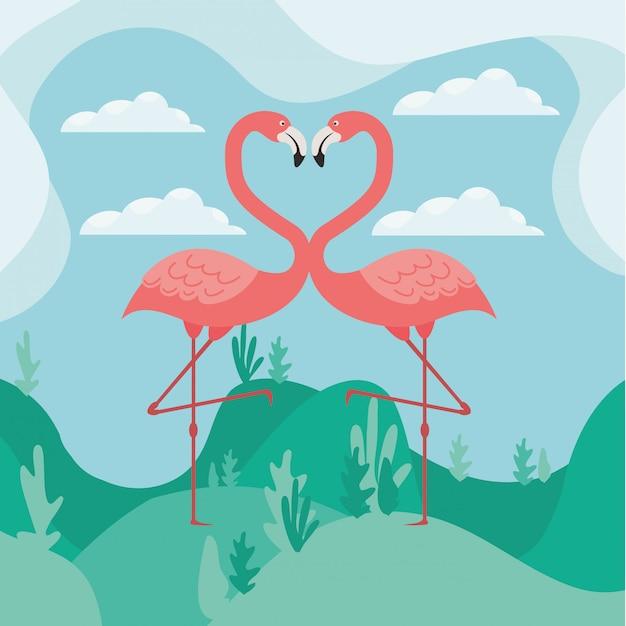 Twee flamingo's in liefde Premium Vector