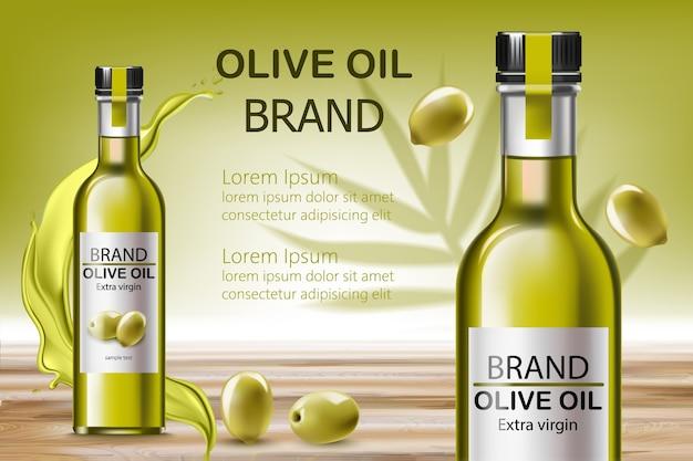 Twee flesjes met extra vierge olie. omringd door stromende vloeistof en olijven. plaats voor tekst. realistisch Premium Vector