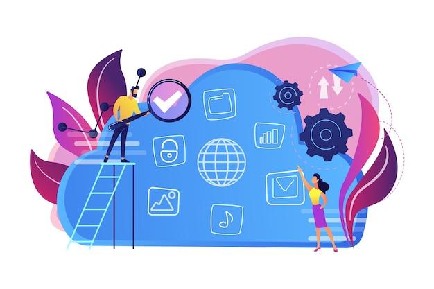 Twee gebruikers zoeken naar big data in de cloudillustratie Gratis Vector