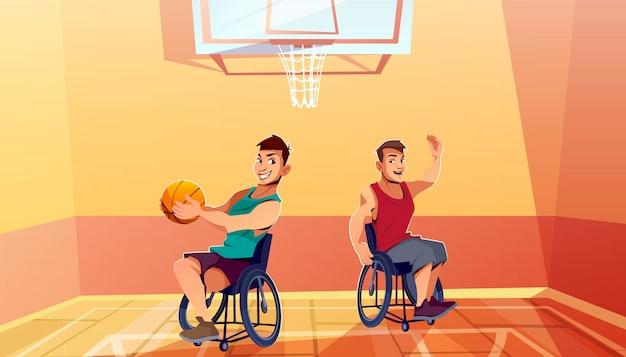 Twee gehandicapte man op rolstoelen spelen basketbal cartoon. lichamelijke activiteit, revalidatie Gratis Vector